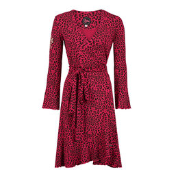 Tante Betsy Ruffle Wrap Dress Disco Leopard