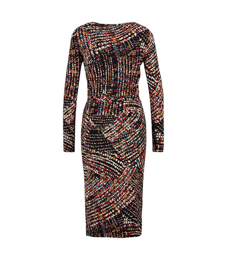IEZ! Dress Drappy Jersey Print Multi