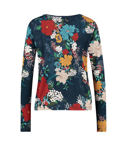 IEZ! Shirt Jersey Print Dark Blue/Big Flower