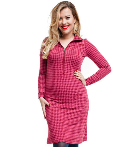 Tante Betsy Dress Sporty Houndstooth Red