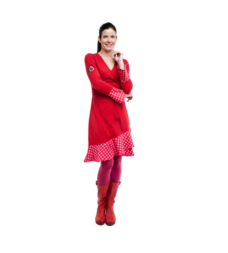 Tante Betsy Dress Ruffle Wrap Chekkies Red
