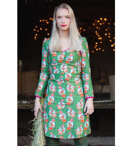 Tante Betsy Dress Lala Kitschy Deer Green