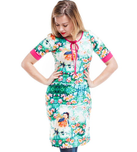 Tante Betsy Dress Keyhole Chinese Floral Blue