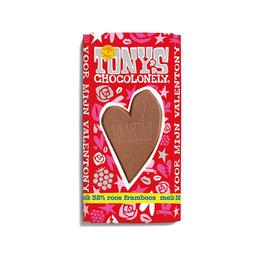Tony's Chocolonely Valentijnsreep Melk Roos Framboos
