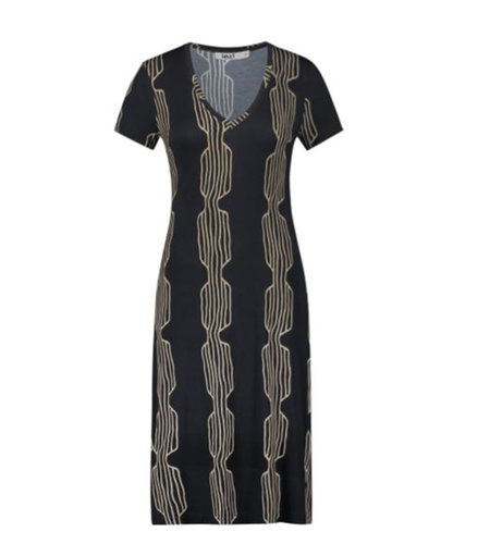 IEZ! Dress Jersey Print Stripe Camel Black