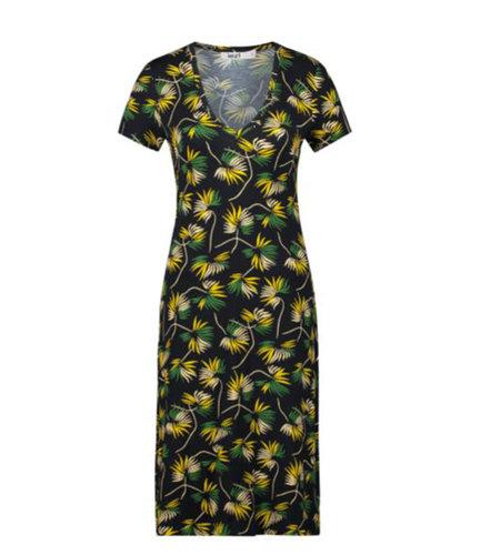 IEZ! Dress Jersey Print Flower Yellow White Green Black