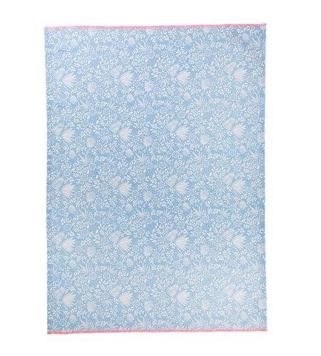 Rice Cotton Tea Towel - Blue Fern and Flower Print
