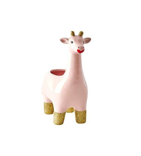 Rice Ceramic Flower Pot Giraffe Pink