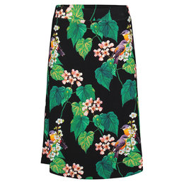 Tante Betsy Midi Skirt Botanical Bird Black