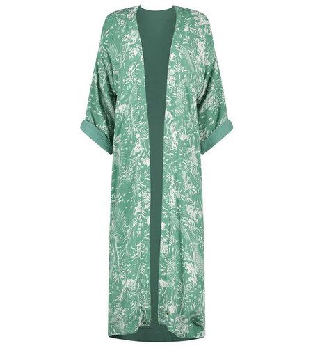 Birds On The Run Kimono Long Reversible With Tropical Design