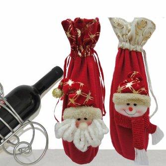 Wijnverpakking Kerst Kerstman Sneeuwpop 36CM