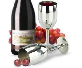 Wijnglas in roestvrij staal