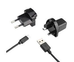 Micro USB Oplader met EU en UK Plug