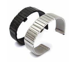 Horlogeband met Vouwsluiting in Zwart of Zilver (20 mm)