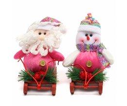 Kerstdecoratie Kerstman Sneeuwpop met Slee