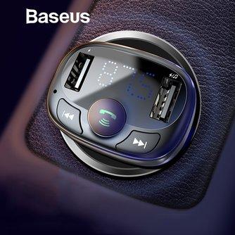 Baseus Car Charger voor iPhone Mobiele Telefoon Handsfree Fm-zender Bluetooth Carkit LCD MP3 Speler Dual USB Auto Telefoon lader
