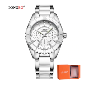 LONGBOMode Horloge Vrouwen Luxe Keramische En Lichtmetalen Armband Analoge Horloge Relogio Feminino Montre Relogio Klok