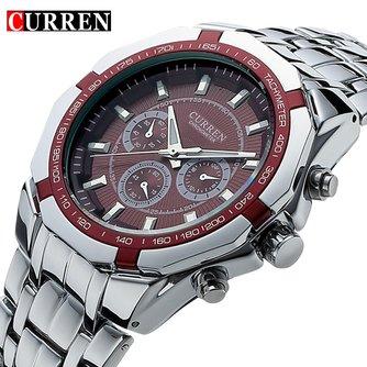 Curren Luxe Quartz Horloge met RVS Band voor Heren