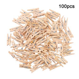 100 Stuks Houten Mini Knijpers