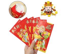 Rode Envelop Chinees Nieuwjaar met God van Rijkdom 6 Stuks
