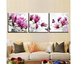 Drieluik-Schilderij met Bloemen