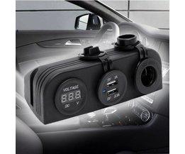 Auto Gadget Sigarettenaansteker Voltmeter en USB oplader