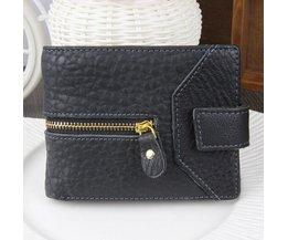 Trendy Zwarte Portemonnee van Echt Leer