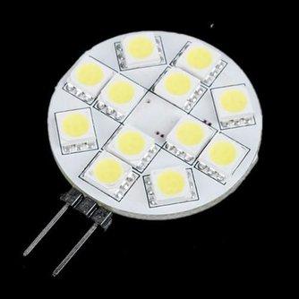 G4 Lamp LED 12V Plat met 12 SMD 5050 Lampjes Puur Wit