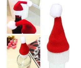 10 stuks Kerstmis wijnfles hoedjes in flanel