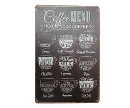Vintage Koffie Wandplaat van Metaal