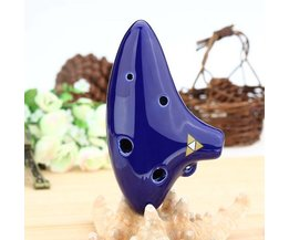 Blauwe Ocarina Fluit van Keramiek met 6 Vingergaten