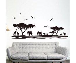 PVC Muursticker met Zwarte Olifanten 60 x 90 cm