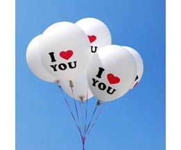 Witte Ballonnen I Love You 100Stuks