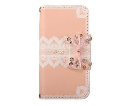 Schattig Roze PU Leren Portemonnee Hoesje met Strikje voor de iPhone 5/5S