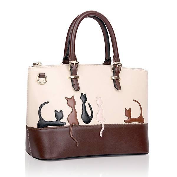 6b5e8b2f579 Bruin-Witte Dames Handtassen met Kat of Konijn Patroon I MyXLshop ...