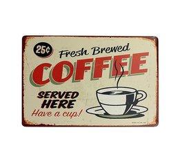Vintage Metalen Decoratiebordje met Koffie Design