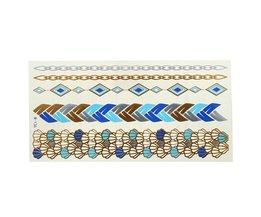 Goud Blauwe Metallic Plaktattoo Sticker