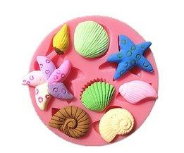 Siliconen Bakvorm Schelp en Zeedieren