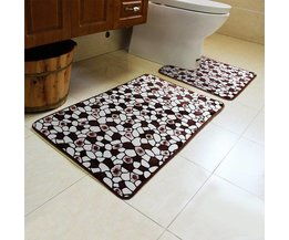Anti-Slip Badmat en Toiletmat met Steenpatroon