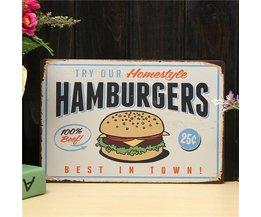 Vintage Reclameborden Hamburgers