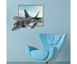 Muursticker Vliegtuig 3D