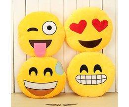 Smiley Kussen Geel Rond