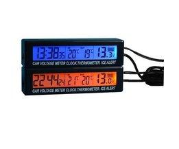 Auto Klok Thermometer Voltagemeter 3 in 1