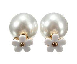 Boucles D'Oreilles Avec Perle Et Fleur