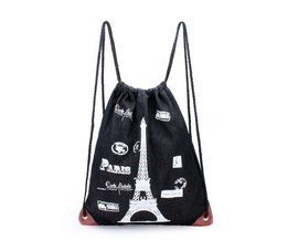 Sac À Dos En Toile Avec Pull-Fil, Et La Tour Eiffel Overprint