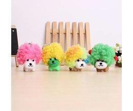 Mini Peluche Chiot Avec De Grands Cheveux Colorés