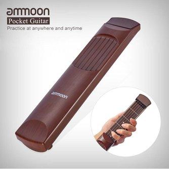 Ammoon Portable Acoustique Poche Guitare Pratique Outil Gadget Corde Formateur 6 Cordes 6 Frettes Modèle Touche Palissandre Bois Grain