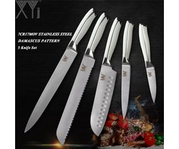 XYj Professionnel En Acier Inoxydable 5 PCS Couteau de Cuisine Ensemble Chef Pain Santoku Utilitaire À Éplucher Couteau 7Cr17Mov/440A Allemagne Style