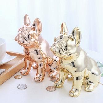 Artisanat en céramique miroir dessin animé chiot tirelire accès tirelire décoration de bureau