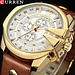 Hommes de luxeCURREN nouvelledécontracté sport montresmoderne Quartz montre-bracelet en cuir véritable bracelet mâle horloge